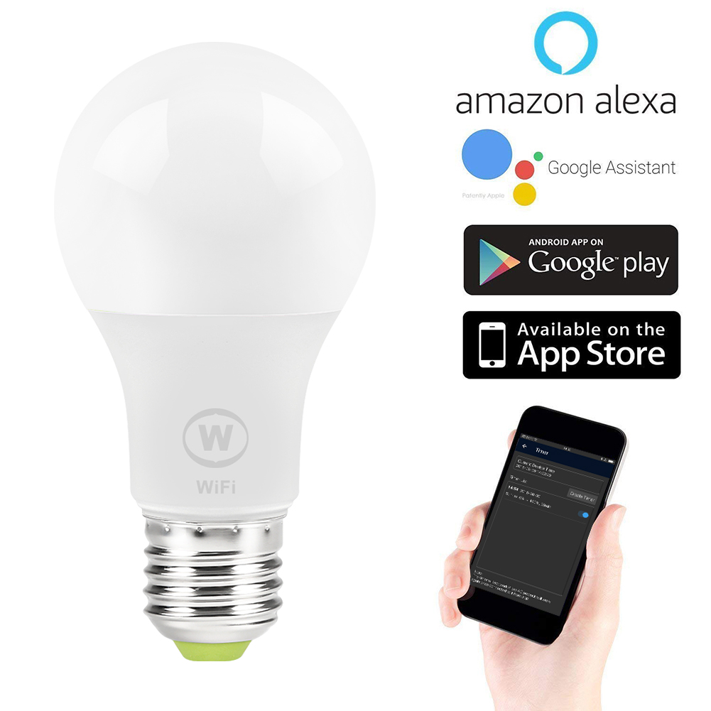 6 5W E27 WiFi Smart Light Bulb , APP Control Wake-Up Lights , No Hub  Required , Compatible with Alexa Google Home Assistant