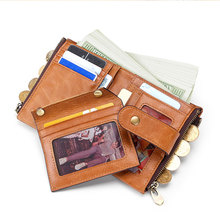 Genuine Leather Wallet Men Retro Short Cowhide Purse with Coin Pocket Card Holder Designer Chain Wallet for Male