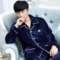 Male flannel sleepwear autumn and winter coral fleece sleepwear male thickening winter set plus size lounge