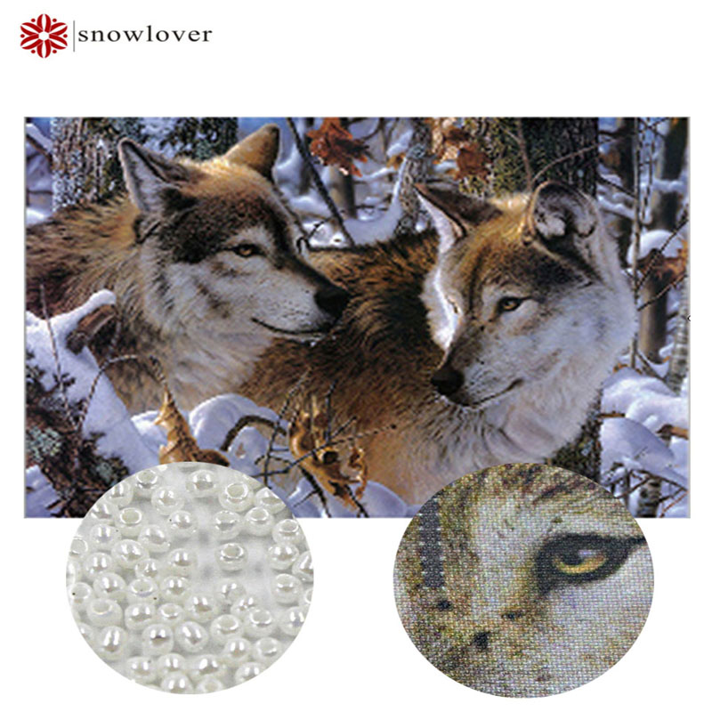 Snowlover,Needlework,DIY bead Cross stitch,Embroidery stitch,Jungle lovers,wolf,Snow, Pr ...