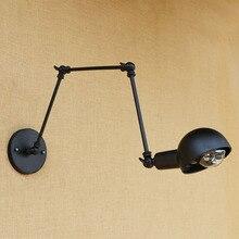 Black Loft Style Industrial Wall Lamp Vintage Wandlamp Luminaire Swing Long Arm Wall Light Fixtures Antique Sconce Applique LED
