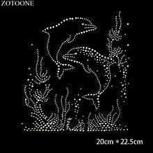 ZOTOONE Strass Crystal Clear Iron on Hotfix Rhinestone Dolphin Applique for Clothes Decoration Motif Rhinestones Needlework