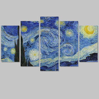 Big Size Impressionist Decoration Van Gogh The Starry Night Wall Art Picture Poster Star Canvas Painting