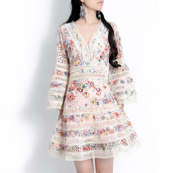 High Quality New Spring Summer Designer Fashion Women's Dresses Flare Sleeve sweet Flower Embroidered Lace Elegant Luxe Dress
