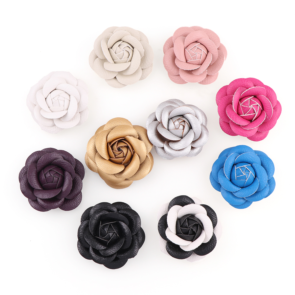 10Colors 6cm DIY Leather Flower For Sewing On Knitted Keychain Scarf Shoes Hats DIY Jewelry Accessories