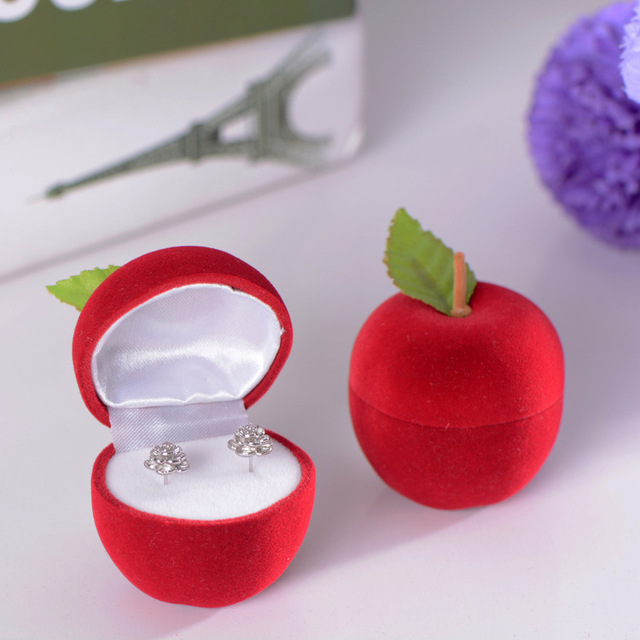 Valentines Day Christmas Pretty Apple Type Jewelry Gift Box