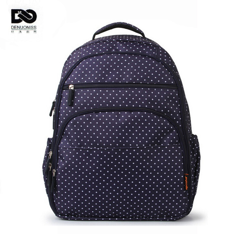 ФОТО 32*19*42cm Fashion Dot Baby Diaper Bag Backpack High-Capacity Mother Bag Baby Bags Multifunctional Insulation Bottle Nappy Bags