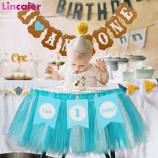 Lincaier First Birthday Decorations I Am 1st Today Paper Banner Baby Boy Girl My 1 Year Party Supplies AM ONE