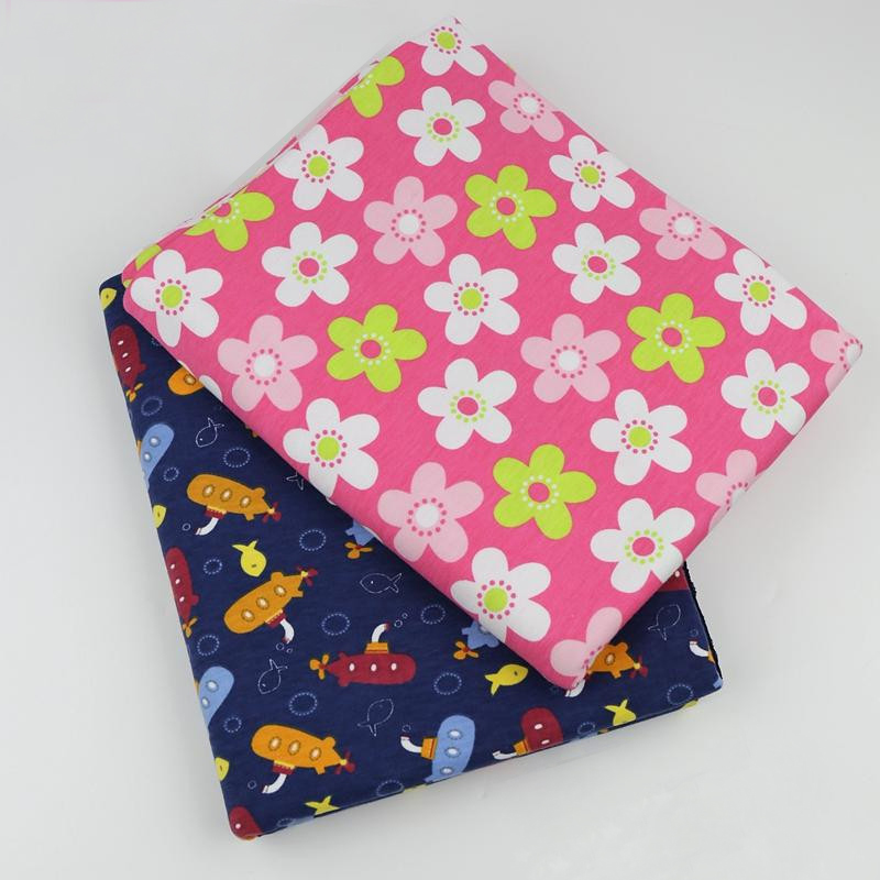50*170cm well stretchy printed baby cotton knitted jersey fabric by half meter DIY sewing baby clothing making tissue