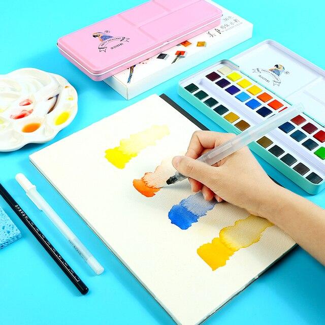 Juego de pintura de acuarela sólida BGLN 24 colores caja de hierro profesional juego de pigmento de acuarela de pigmento portátil para pintar suministros de arte