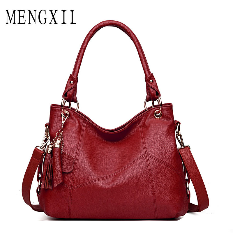 MENGXILU Women Leather Handbags Tassel Women Messenger Bags Designer Crossbody Bag Women Shoulder Bag Top-handle Bags Vintage vintage punk tassel shoulder bags pu leather handbags women messenger bag casual tote bag small crossbody bags