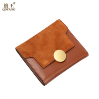 QIWANG Leather Women Short Wallet Suede Fashion Leather Wallet Female Purse Trifold Wallet 2018 With Bronze