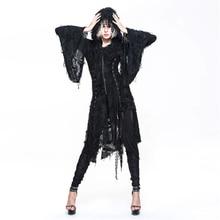 Steampunk Women's Ripped Jackets Goth Rock Batwing Sleeve Hooded Long Outwears Streetwear Tattered Causal Jacket Coats