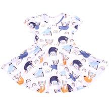 2019 halloween meninas de manga curta twirling vestido crianças roupas cor clara queda/inverno vestidos leite seda twinl vestido para a criança