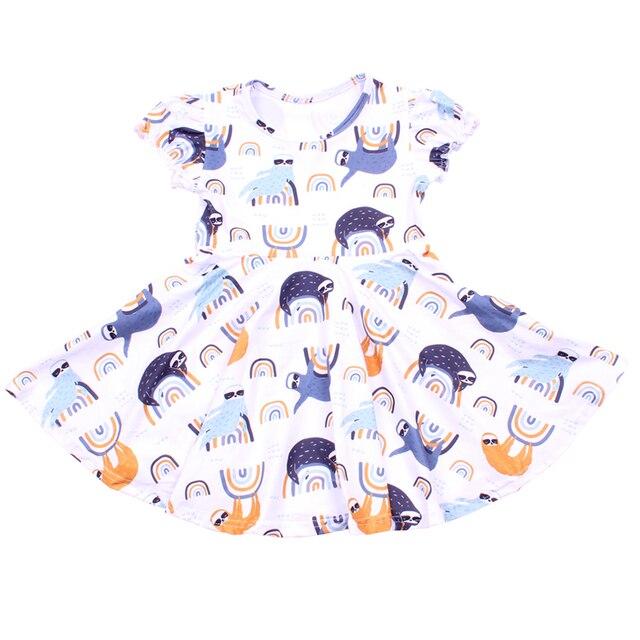 فستان هالوين 2019 قصير الاكمام للفتيات ، ملبوسات الاطفال ، الوان فاتحة ، خريف/شتاء ، فروكس الحليب والحرير ، فستان توريل للأطفال الصغار