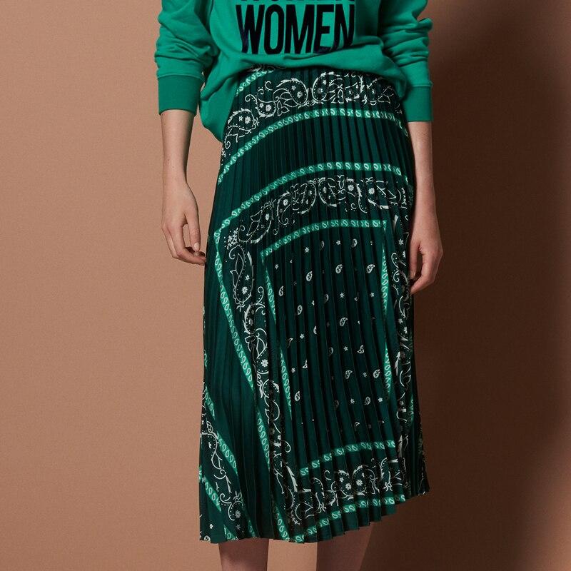 Женская винтажная юбка дизайнерская 2018 печатная плиссированная юбка