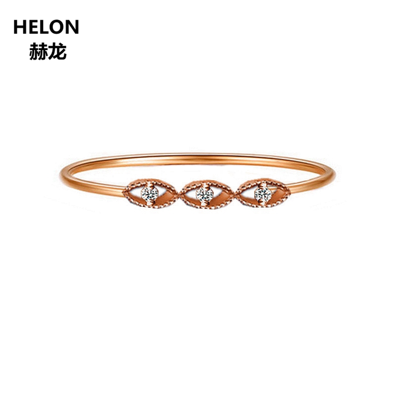 Solid 14k Rose Gold Natural Diamonds Engagement Wedding Band Women Anniversary Party Fine Jewelry Classic Valentine's Day Gift classic 18k solid white gold party anniversary engagement wedding band rhombus rings for women men couple gift fine jewelry