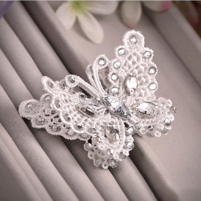 handmade beautiful crystal lace butterfly hair barrettes hairclip bridal bridesmaid hair jewelry wedding party hair accessories