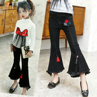 Retail 1Pcs Brand New Design Kids Girls Cute Autumn Black Denim Jean For Girls Boot Cut