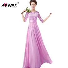 ADEWEL Long Inside Pluz Size Women Lace Dress Long Maxi Dresses Chiffon Half Sleeve Elegant Evening Wedding Party Dress S-XXL