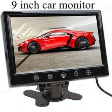 Discount! car monitor small display 9 inch digital Color TFT LCD with 2 Video input lcd for reversing parking backup rear view camera