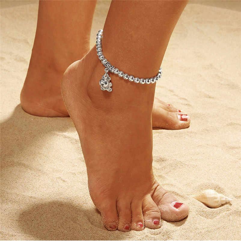 新しい女性の足首のブレスレットダブルチェーンベルとクマアンクレットジュエリービーチサンダル Pulseras Tobilleras Y17 # N