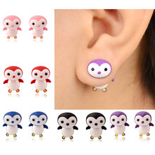 Aros Real Hot Sale Earings Wholesale Fashion Cute Polymer Clay Stud Earrings 9 Colors Not Allergic 3d Penguin For Baby Children(China)