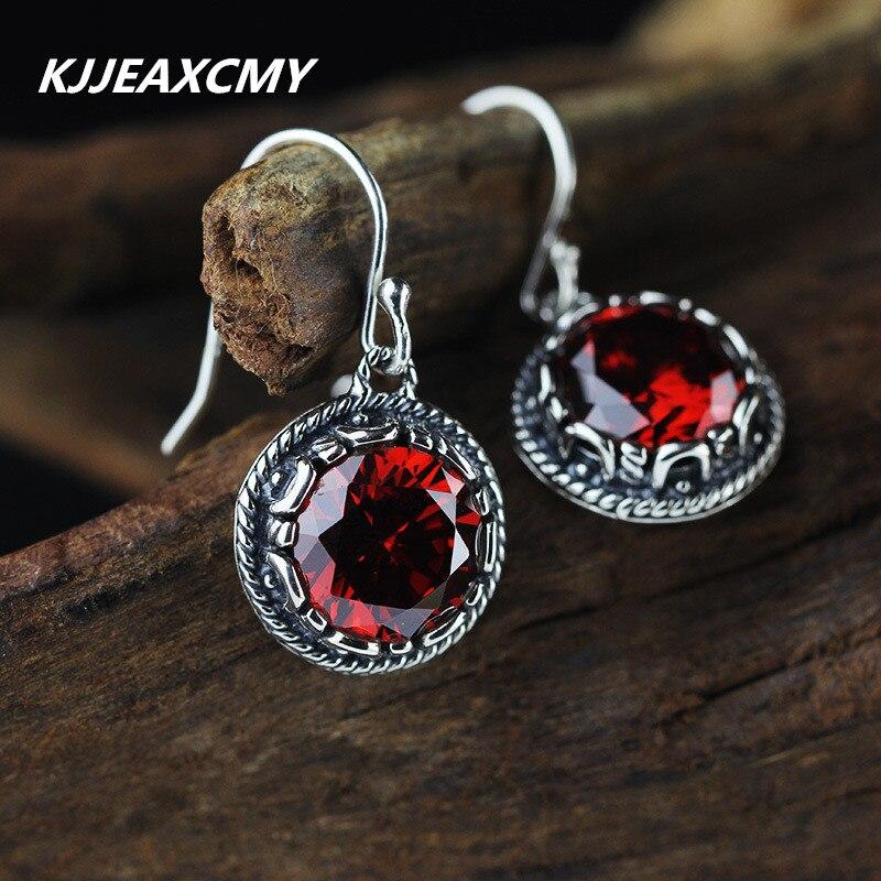 все цены на KJJEAXCMY new listing ladies summer red corundum garnet Amazonite LV series S925 Fashion Earrings онлайн