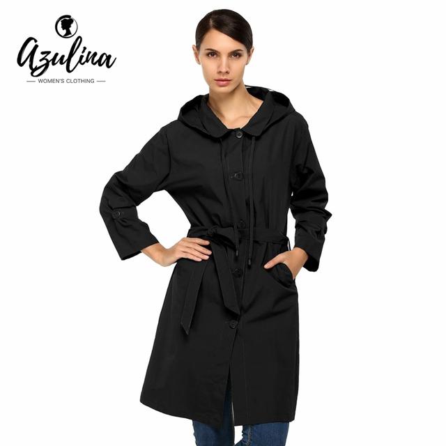 AZULINA Casual Trinchera Mujeres de la Capa Con Capucha Abrigo de Invierno Negro Femenino del Otoño Gabardina Larga Outwear Solid Mujeres Calientes 2016