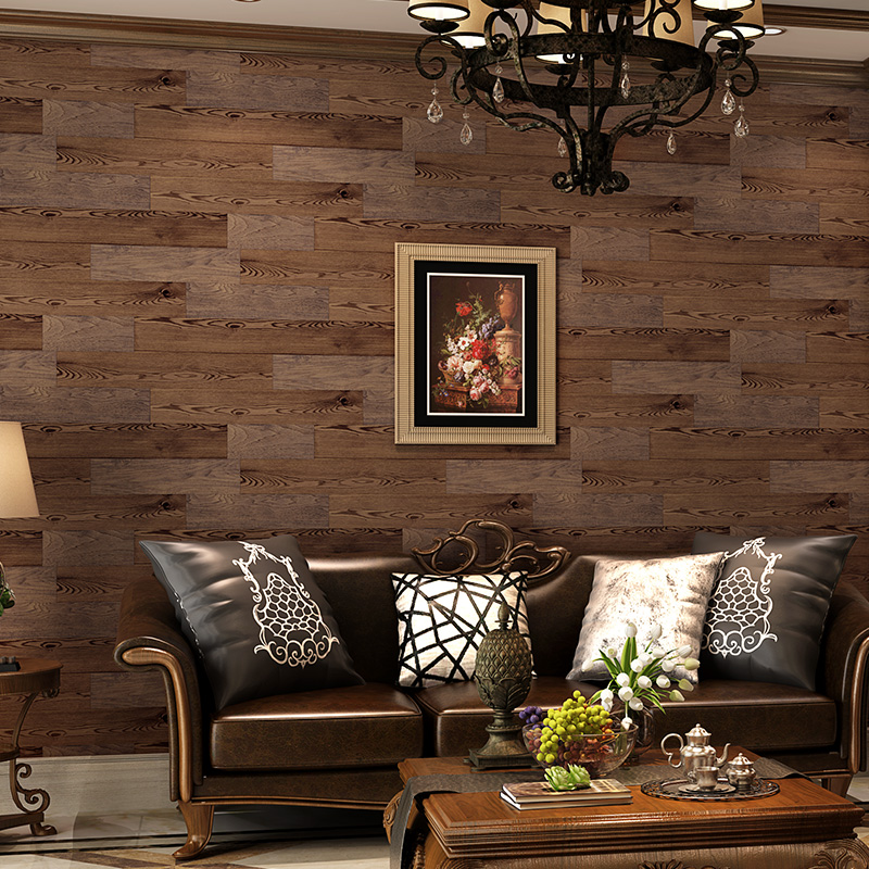 цена american retro finishing wood board pure paper wallpaper sofa background wall wallpaper онлайн в 2017 году