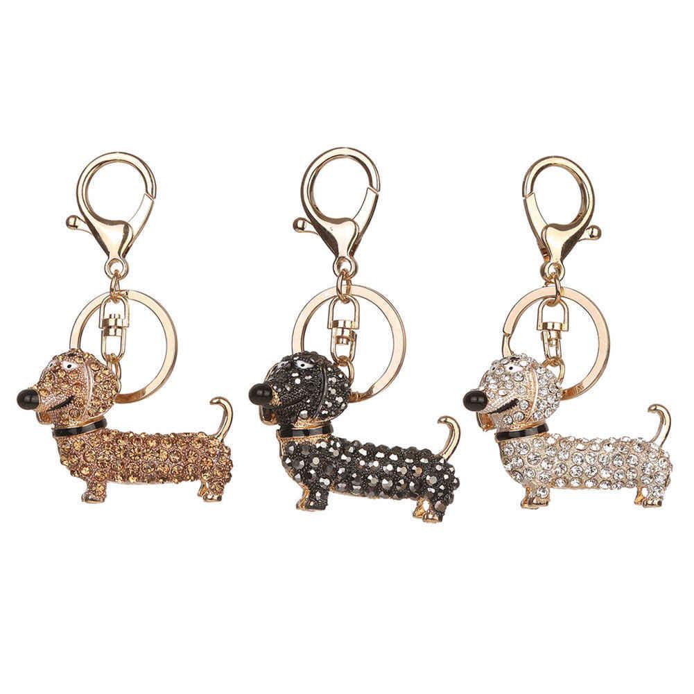 e56ba452507 New Fashion Dog Dachshund Keychain Bag Charm Pendant Keys Holder Keyring  Jewelry For Women Girl Gift