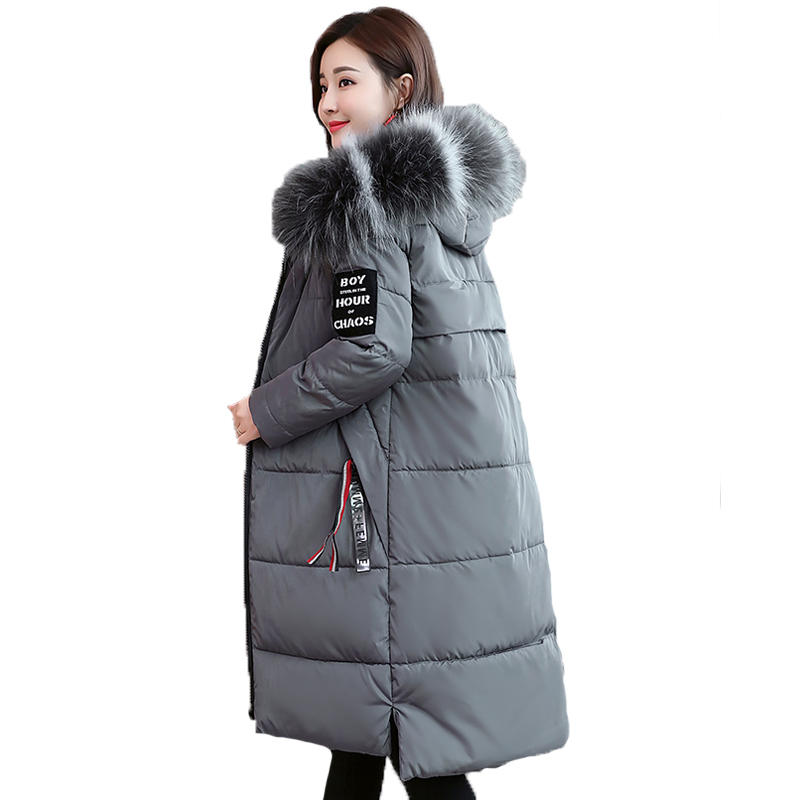 Korean Long Fur Collar Down Cotton Jacket 6XL Plus Size Solid Warm Outwear Winter Coat Women Thick Hooded   Parka   Female AA70