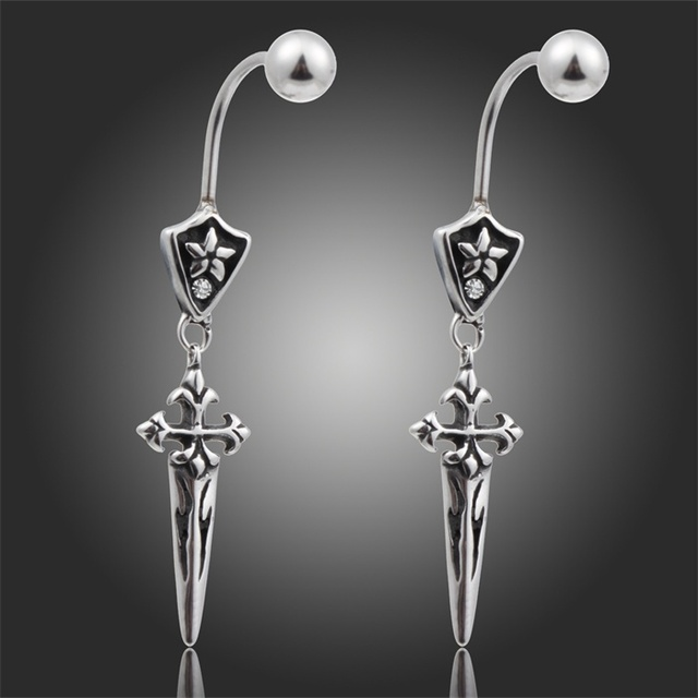New Uni Antique 316 Stainless Steel Double Sided Meval Badge Cross Sword Dangle Earrings Mens Womens
