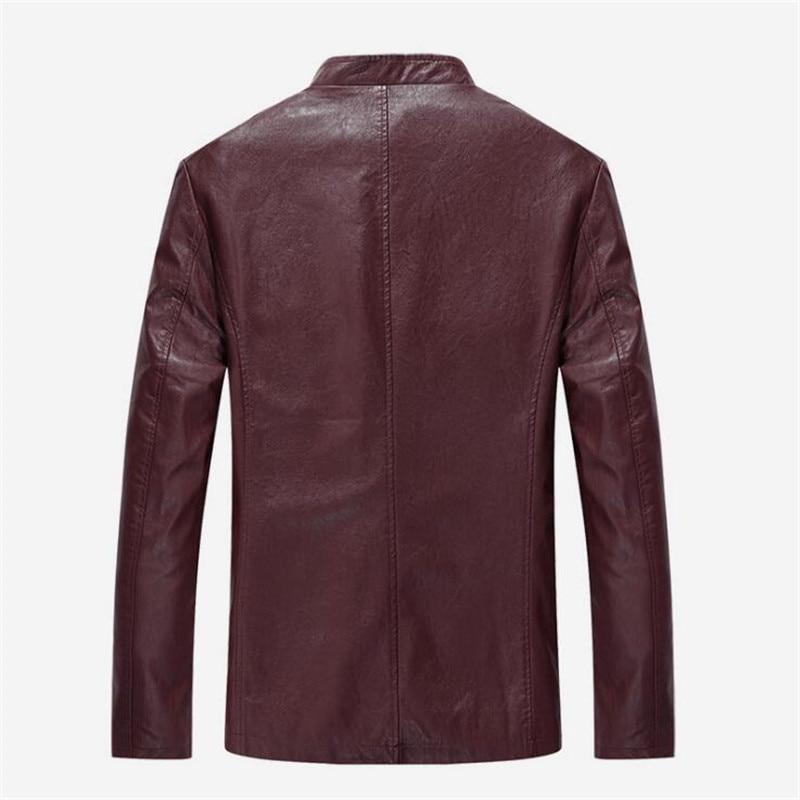 Hombres chaqueta de cuero con cremallera Negro Primavera / otoño - Ropa de hombre - foto 4
