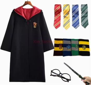Детский халат для взрослых с Поттером, плащ с галстуком, шарф, палочка, очки Ravenclaw Gryffindor Hufflepuff, Слизерин для Харриса, карнавальный костюм >> Xin_fashionss Store