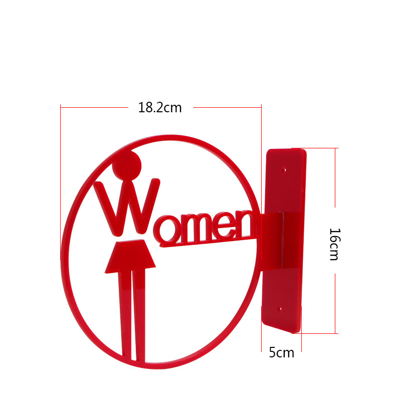 Acrylic Carved WC Sign Wall Mounted Toilet Signage Plate Wall Guided Signboard Customized Acrylic Letter Icon Plate Plaques Card signage