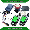 Hot selling spy two way motorcycle alarm,LCD display with light and vibration,remote start,shock alarm,microwave motion alarm