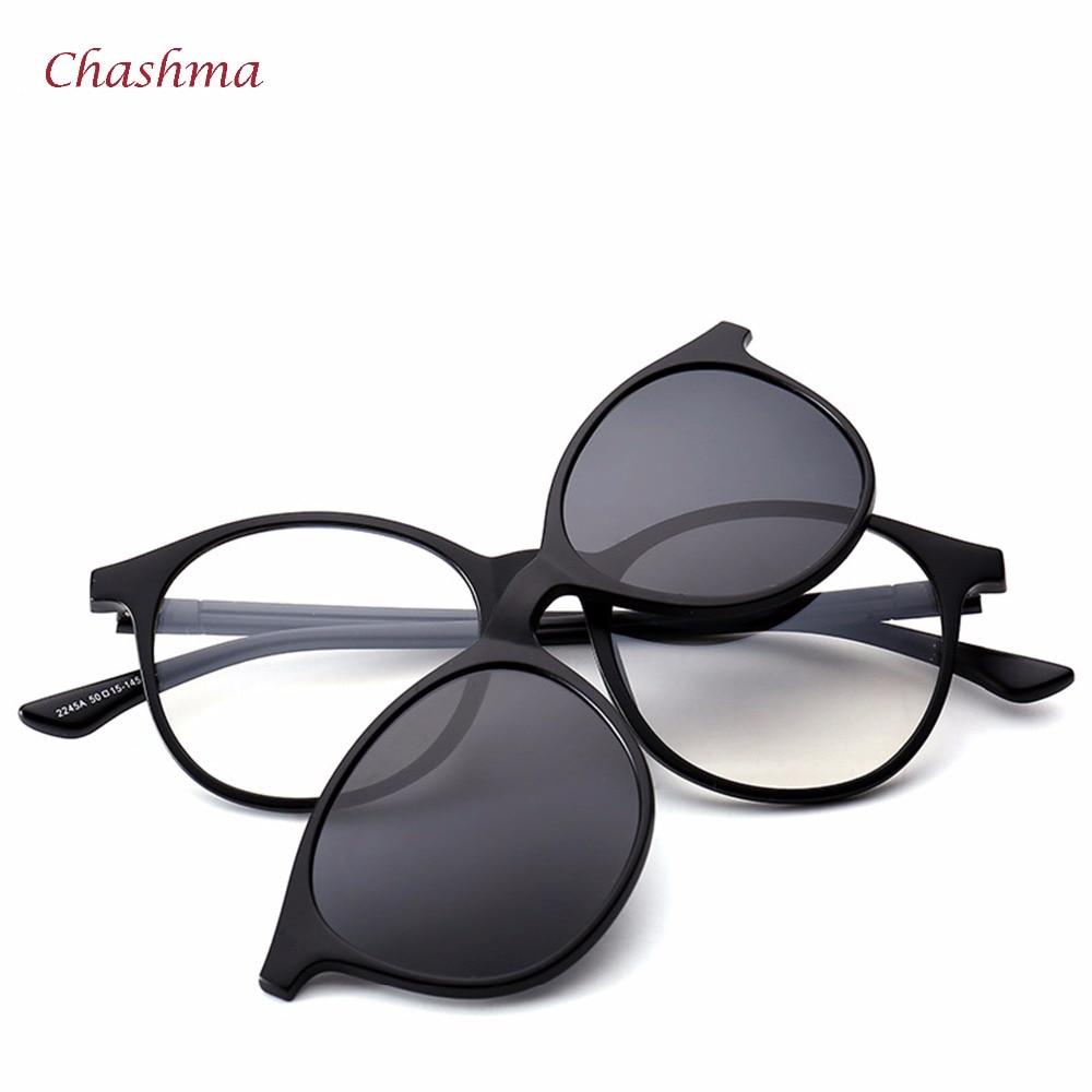 Chashma марка 5 клипчета слънчеви очила мъжки кръгли очила рамка поляризирани слънчеви очила рамки Vintage рамка очила за жени