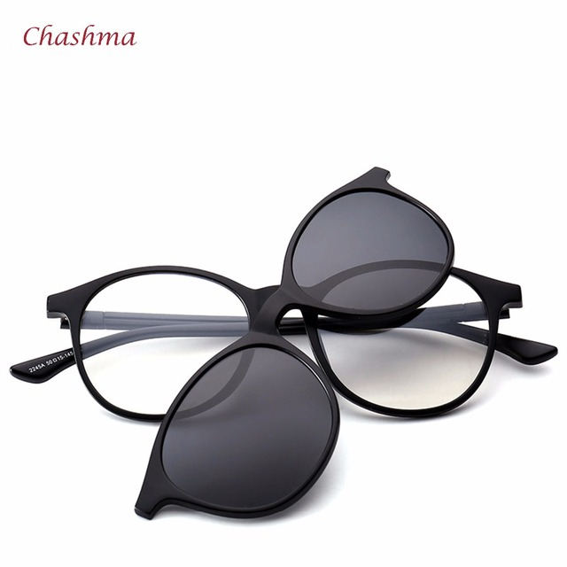 Chashma Marca 5 Clips Óculos De Sol Masculino Óculos Redondos Quadro óculos  de Sol Polarizado Óculos 49e197f502