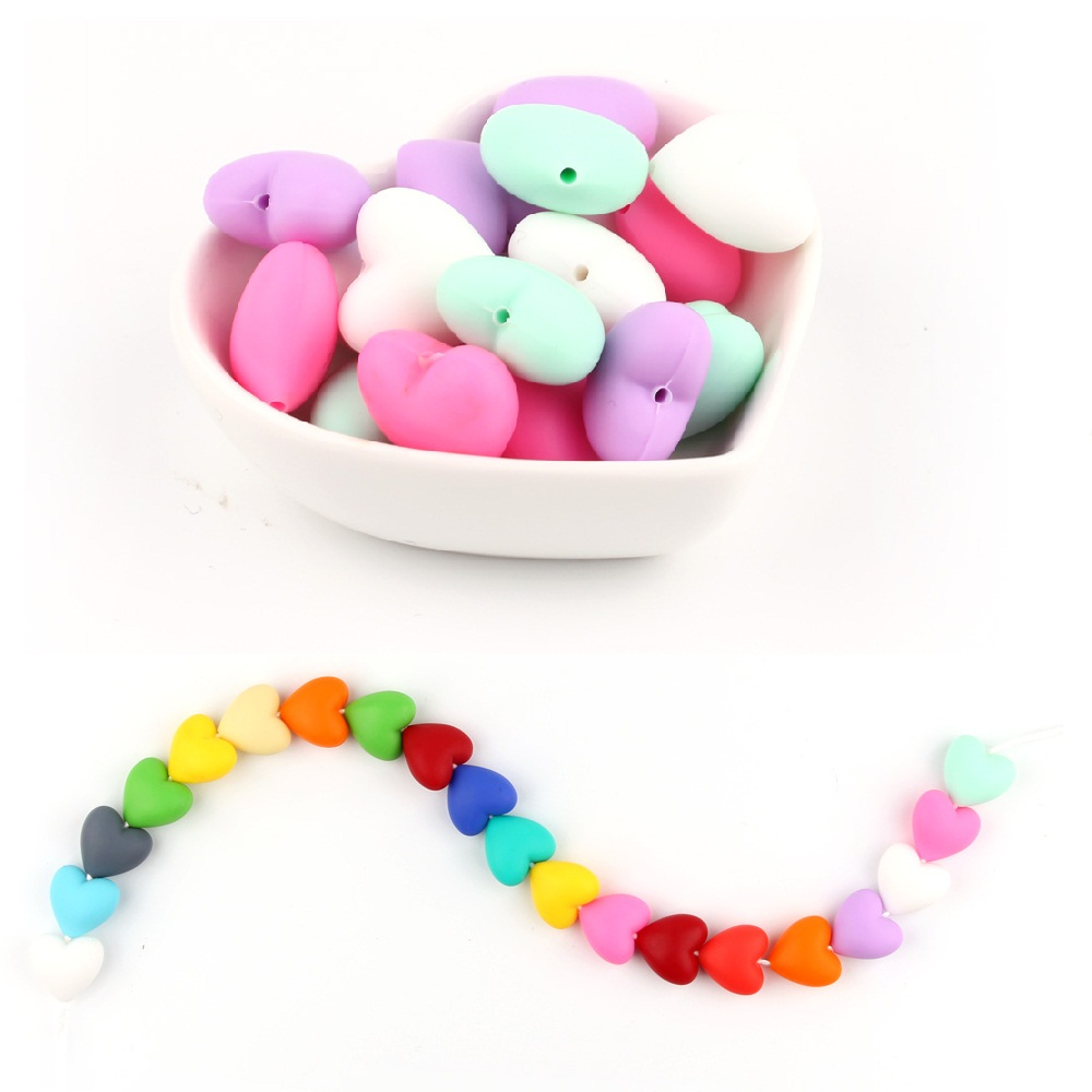 TYRY.HU 20pcs/lot Heart Silicone Beads Baby Teether Silicone Teething Beads For Necklace Silicone Teether