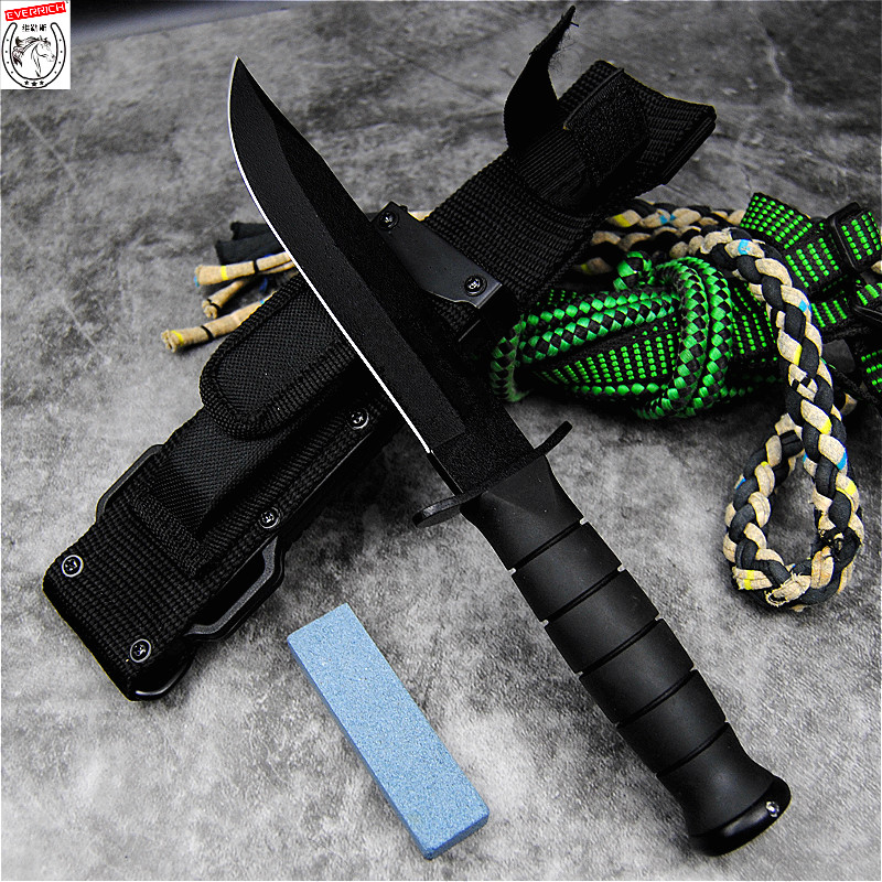 D2 High Hardness Straight KnifeJapanese samurai Jungle Survival Tactical Knife Outdoor Rescue Straight Knife Survival Tool