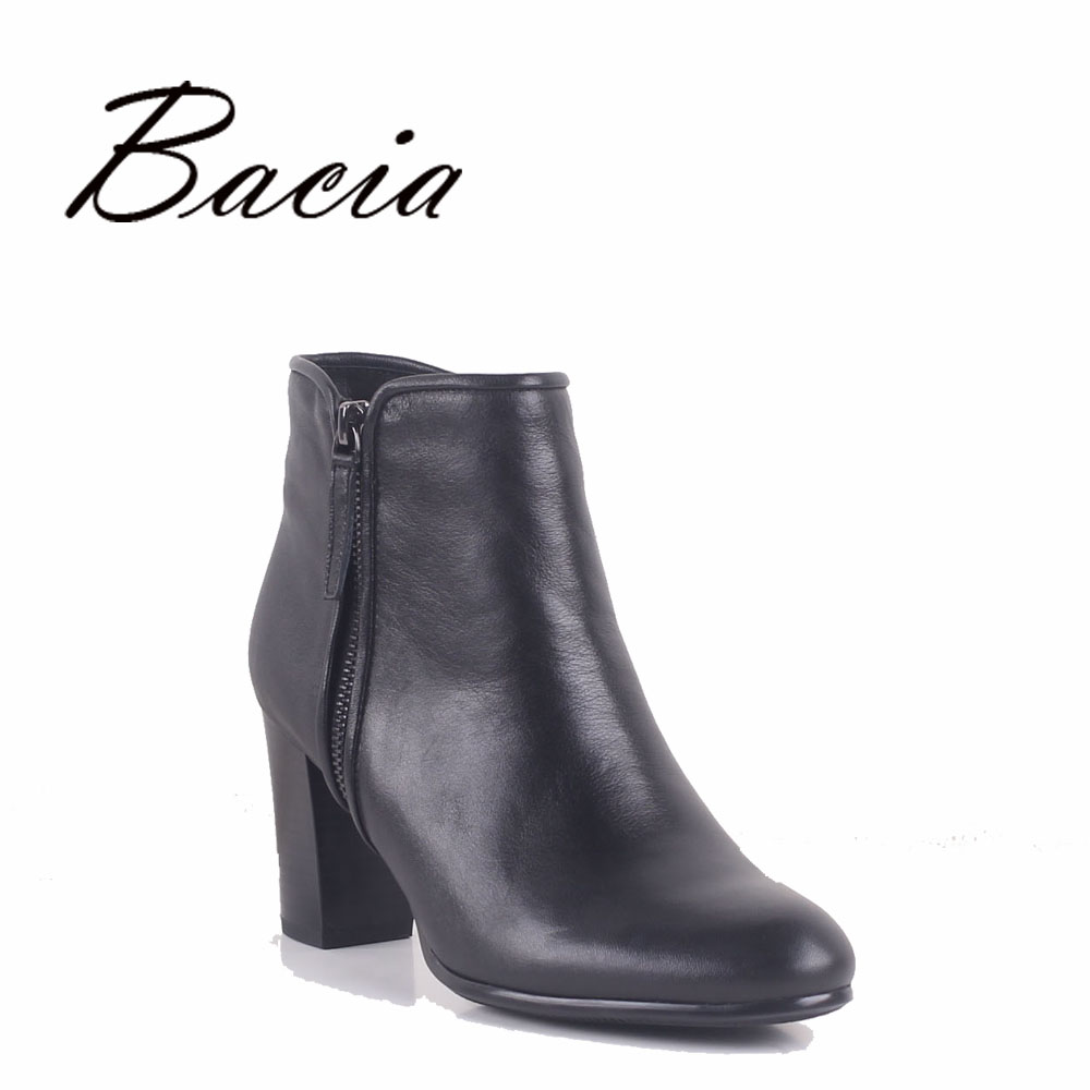 Bacia Women High Heels Ankle Boots Genuine Leather Shoes Warm Short Plush Inside Autumn Fashion Pure Black Botas MC023 bacia genuine leather boots short plush women shoes black simple style ankle boots with zipper handmade high quality shoes vd021
