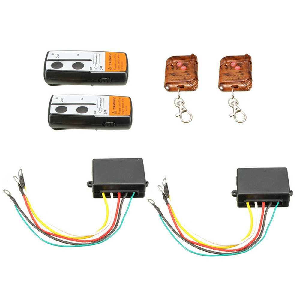 12V Electric Winch Wireless Remote Control Set With Receiver 15m Traction Device