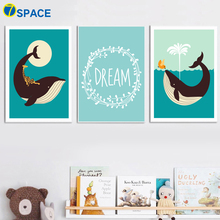 Whale Moon Dream Nursery Art Print Nordic Posters And Prints Wall Art Canvas Painting Wall Pictures For Baby Girl Boy Room Decor майка борцовка print bar girl and moon