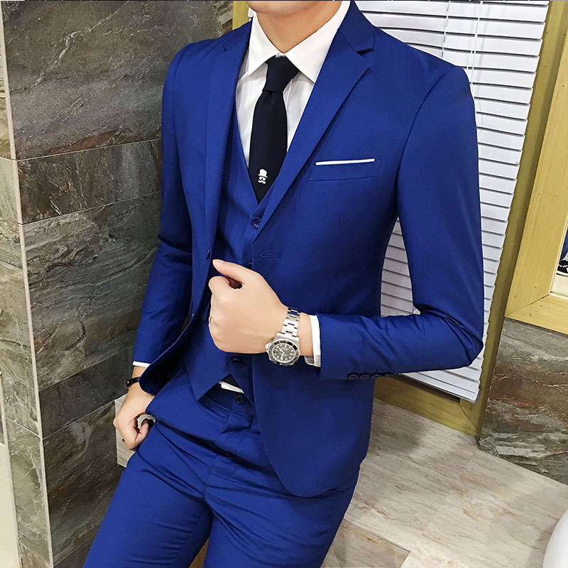 2017 New Men Suits Buckle Brand Suits Jacket Formal Dress Men Suit Set Men Wedding Suits Groom Tuxedos (Jacket+Pants+Vest) A058