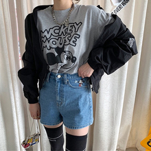 2019 New Cotton Summer Mickey Mouse Jeian Shorts Women Female Casual Hot Sale Denim High Wasts Plus Size Sexy Short Jeans