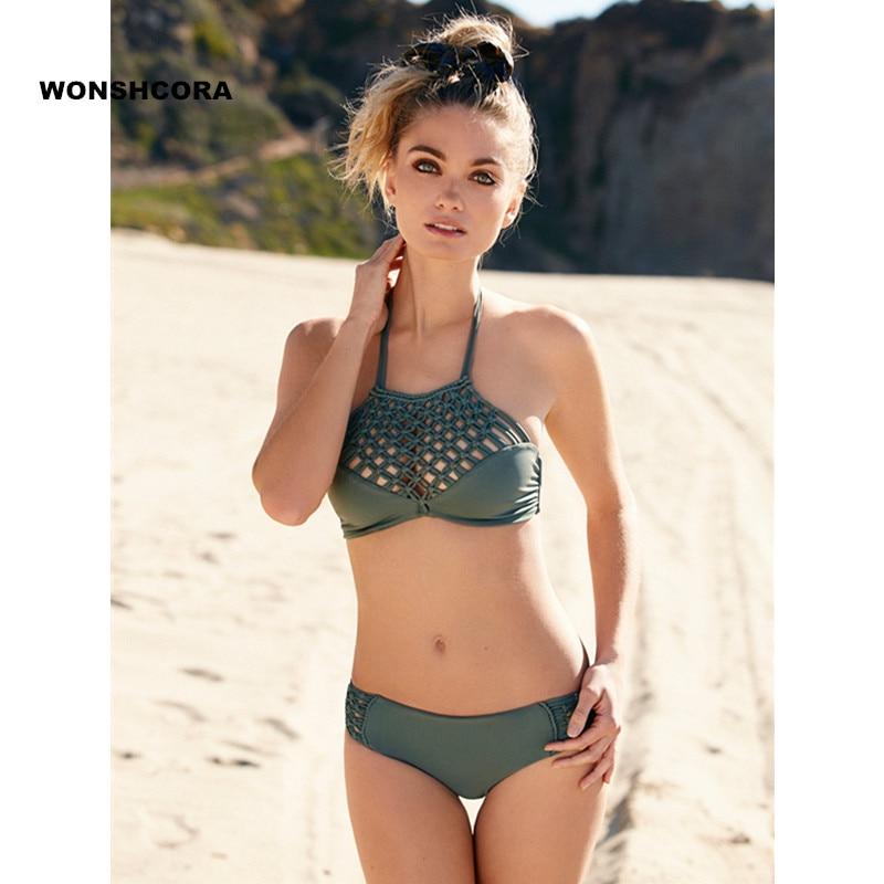 2018 Hand Weave Sexy Women Bikini Set Hang Neck Low Waist Swimwear Swimsuit Beachwear Army Green Swimming Suit Trunks Tankini army green sexy scoop neck bikini top