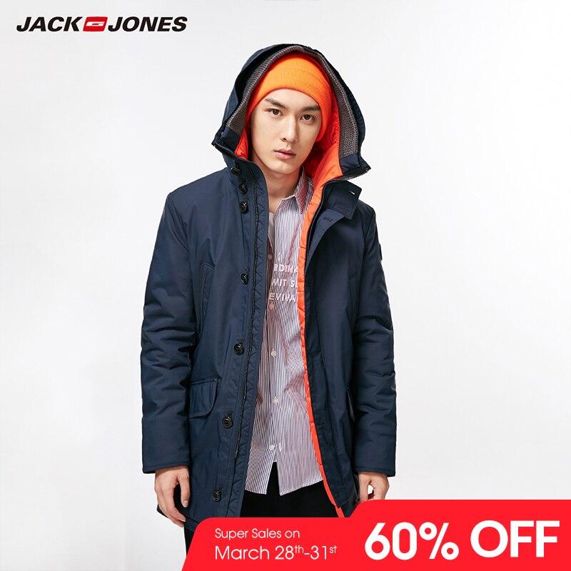 JackJones Для мужчин зима и осень Средний Стиль Термальность хлопок зауженное пальто впору Колледж Роскошные руно летные куртки   218309511