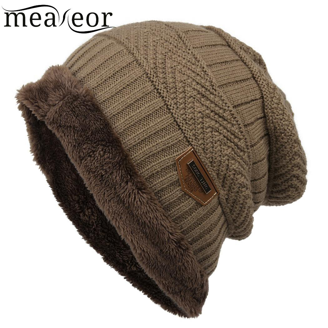 Meaneor Women Men Fleece Caps Fashion Contrast Color   Beanie   Knitted Winter Autumn Hat Warmer Winter Bonnet Hats for Chirsmas