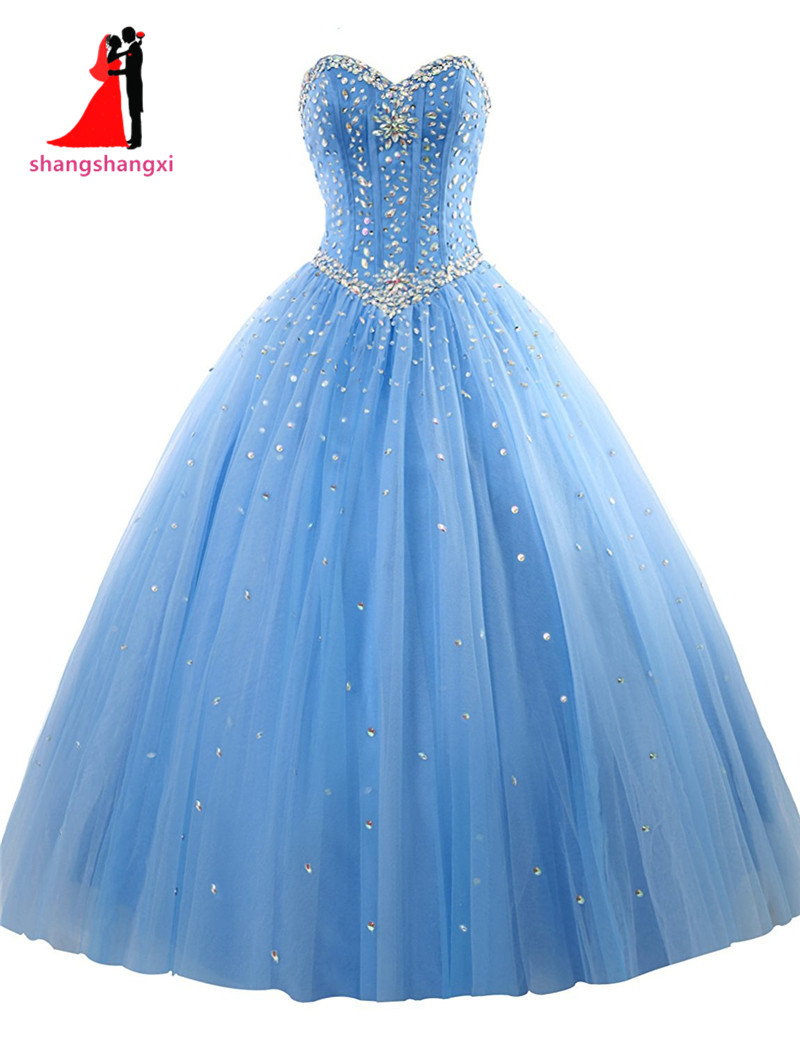 New Royal Blue Quinceanera Dresses Tulle Crystal Beads Debutante Red ...